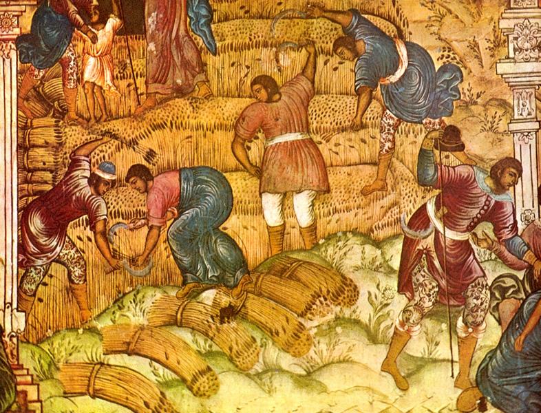 Жатва. Сцена из Деяния Пророка Елисея. Фрагмент фрески