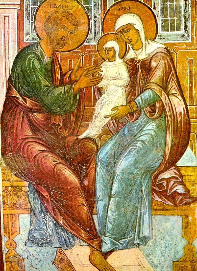 Ласкание Богородицы. Фрагмент фрески